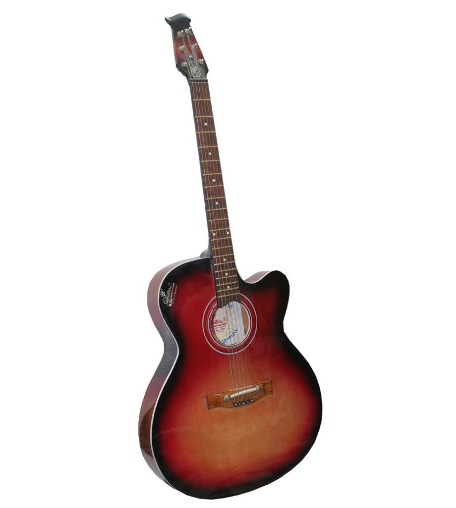Signatare Red Acoustic Guitar Black Border-CARRY BAG-PLECTRUMS