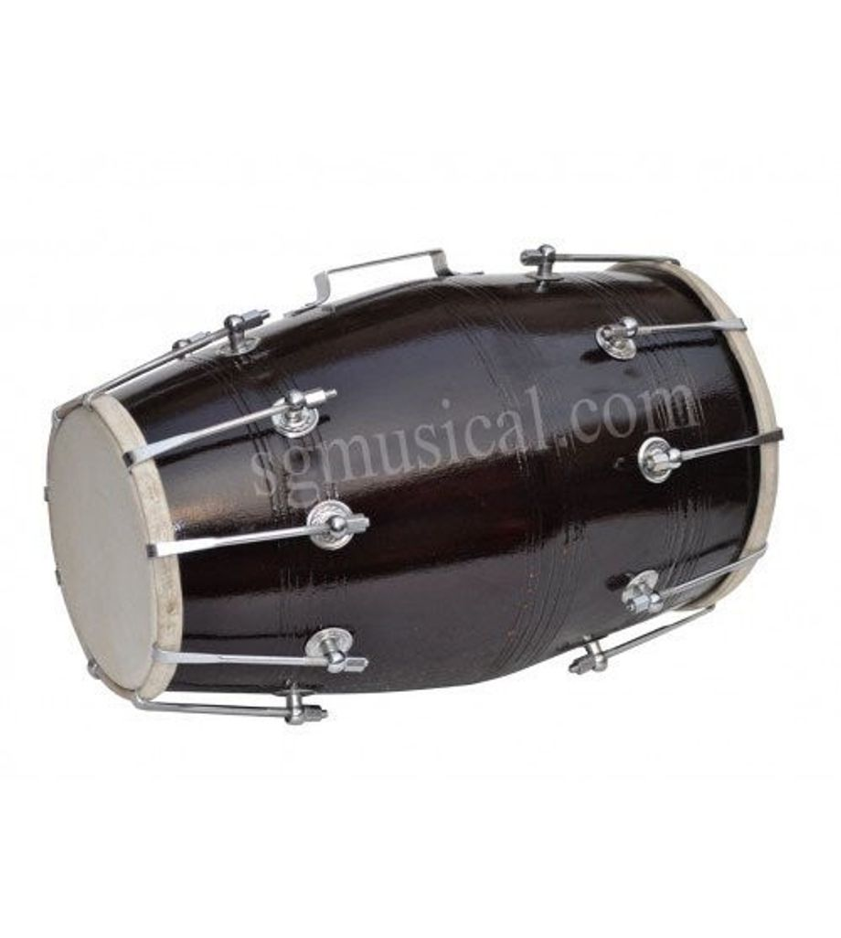 SG Musical Black Dholak, Mango Wood, Bolt-Tuned,Free Tuning Spanner, Carry Bag