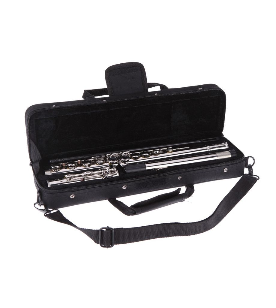 Western Concert Flute Silver Plated 16 Holes C Key with Grease Cleaning Cloth Stick Gloves Mini Screwdriver Padded Bag