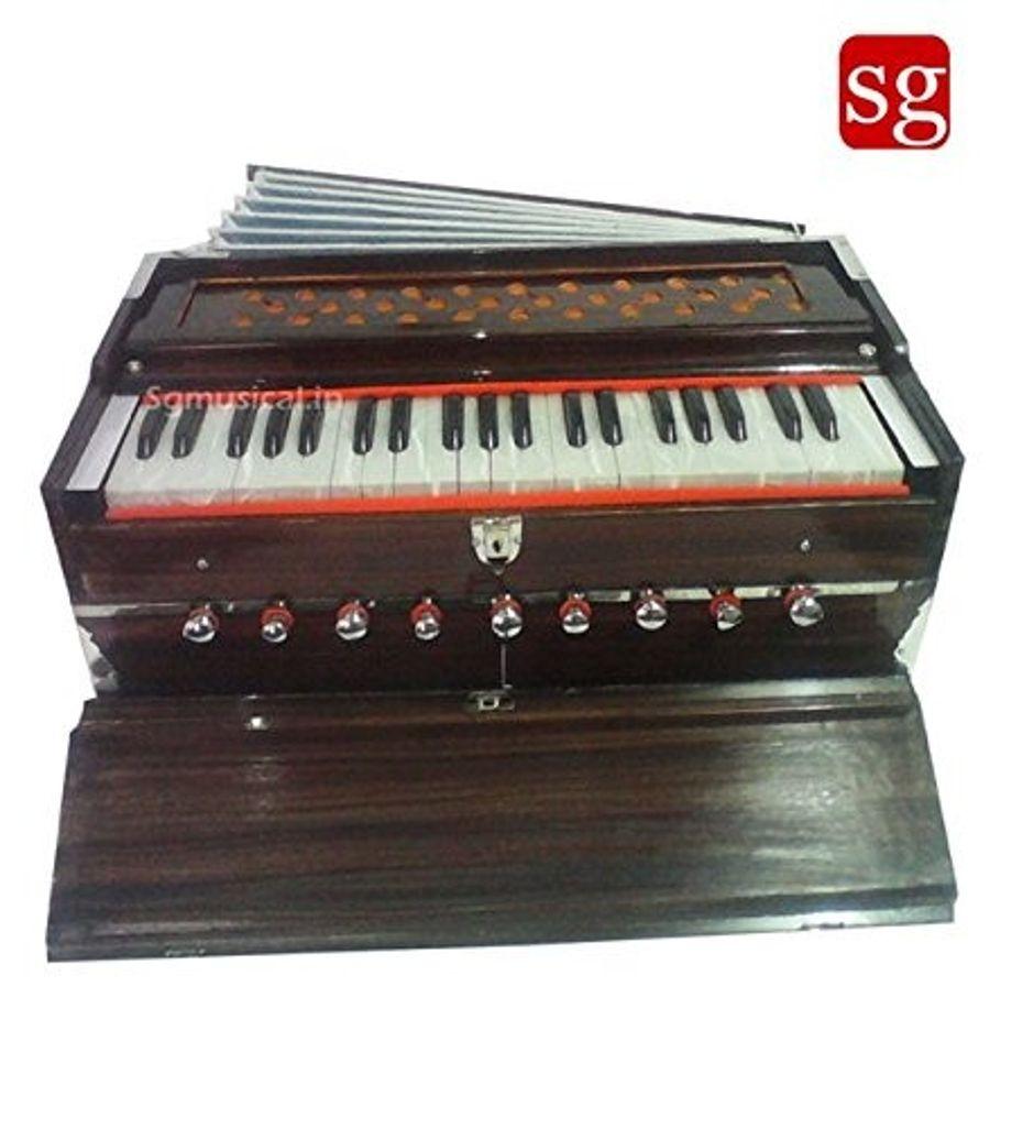 SG Musical Harmonium 9 Stop, Walnut Color, A440, 3.5 Octave, Multi-Bellows