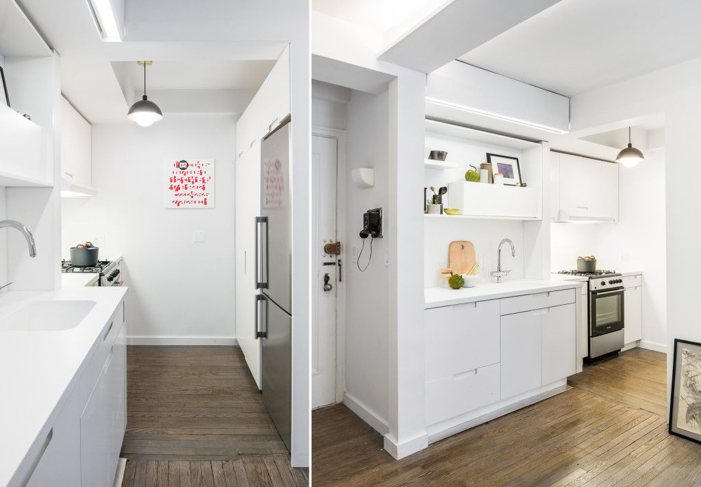 michael k chen manhattan apartment five in one 12 - This 390-square-foot Manhattan apartment has a motorized wall, that makes 的 bedroom and dressing room disappear in 的 daytime