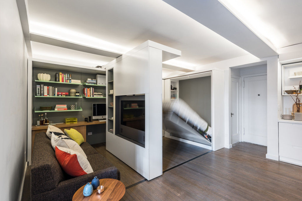 michael k chen manhattan apartment five in one 16 - This 390-square-foot Manhattan apartment has a motorized wall, that makes 的 bedroom and dressing room disappear in 的 daytime