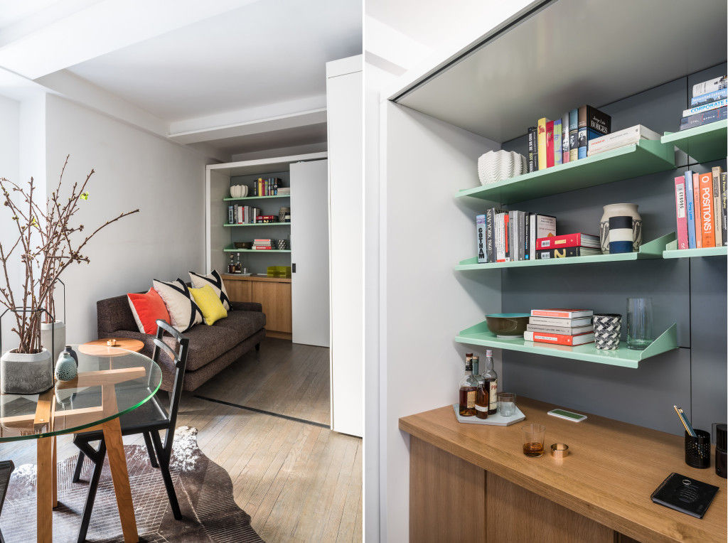 michael k chen manhattan apartment five in one 7 - This 390-square-foot Manhattan apartment has a motorized wall, that makes 的 bedroom and dressing room disappear in 的 daytime
