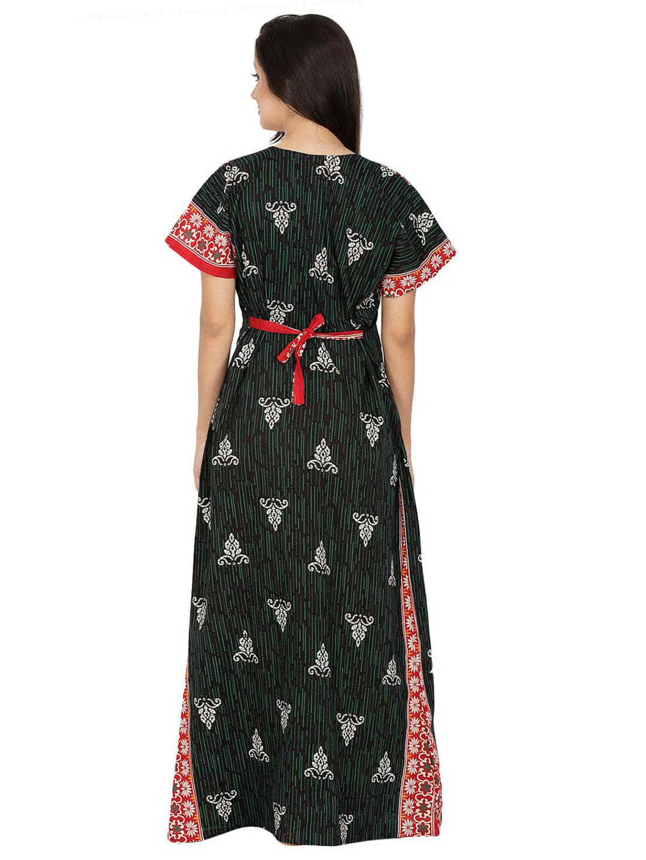 Secret Wish Women's Cotton Green Nighty, Nightdress (Green, Free Size)