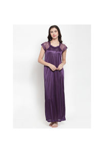 Secret Wish Women's Purple Satin Solid Nighty (Free Size)