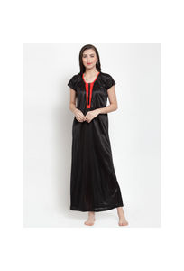 Secret Wish Women's Black Satin Solid Nighty (Free Size)
