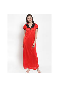 Secret Wish Women's Red Satin Printed Nighty (Free Size)