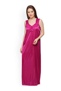 Secret Wish Women Magenta Satin Maxi Nightdress