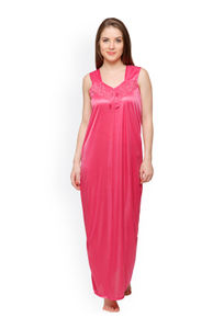 Secret Wish Women Pink Satin Maxi Nightdress
