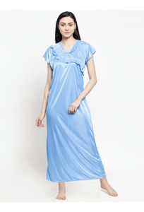 Secret Wish Women's Sky Blue Satin Solid Nighty (Free Size)