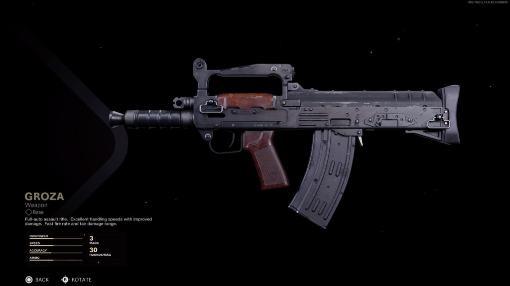 Groza assault rifle