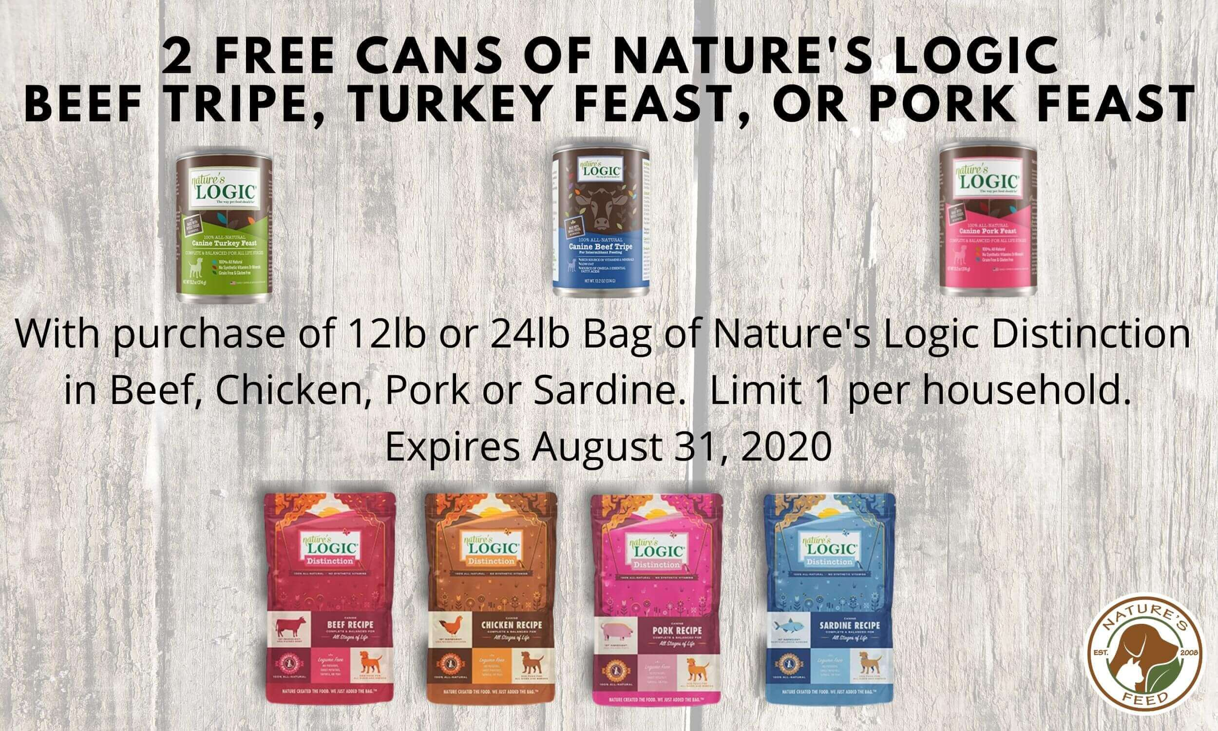 2 FREE Nature's Logic Dog Food Cans With Purchase - Spring Grove, Illinois