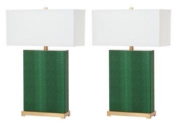 "Joyce 27.75-Inch H Faux Snakeskin Table Lamp, 18"" X 27.75"", Dark Green, Set Of 2"