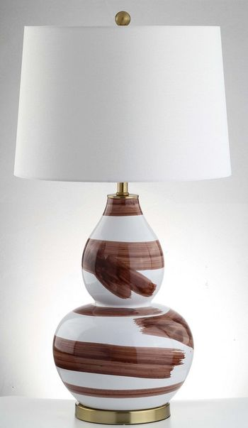"""Aileen Table Lamp, 18"""" X 32"""", Brown/White"""