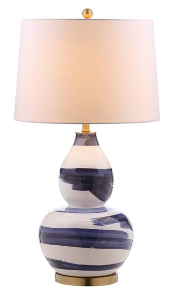 """Aileen Table Lamp, 18"""" X 32"""", Blue/White"""