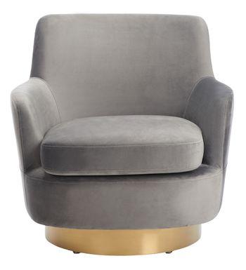 "Pyrite Velvet Swivel Chair, 31.1"" X 30.3"", Dark Grey"