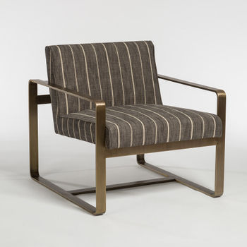 Empire Occasional Chair In Revere Dusk And Aged Brass