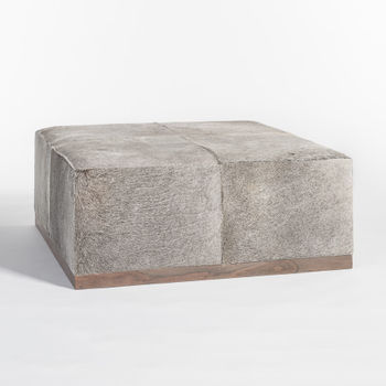 Felix Large Leather Ottoman In Frosted Hide