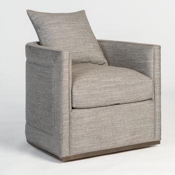 Landon Swivel Occasional Chair In Smokey Flax And Dark Grain Mocha
