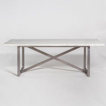 """Menlo Park 88"""" Dining Table In Cloud Marble And Burnished Riviera"""