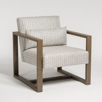 Soho Occasional Chair In Steel Twill And Driftwood