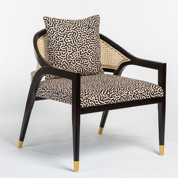Chair,  Black & Cream fabric, Onyx Oak