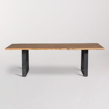 """Tahoe 84"""" Live Edge Dining Table In Natural Finish"""