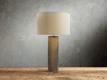 Adrano Table Lamp In Gold With Natural Shade