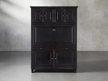 Alderson Hideaway Desk With Oak Top In Blackened Honey