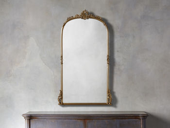 """Amelie 28"""" Wooden Arched Wall Mirror In Gold Hue"""