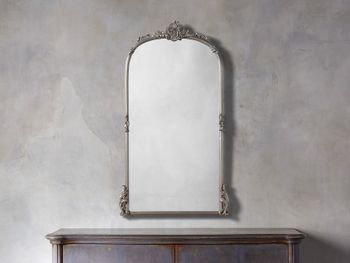 """Amelie 28"""" Wooden Arched Wall Mirror In Silver"""