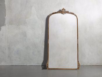 """Amelie 41"""" Wooden Arched Floor Mirror In Golden Hue"""