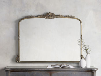 "Amelie 51.5"" Wooden Arched Dresser Mirror In Gold"