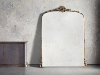 """Amelie 64"""" Wooden Arched Grand Floor Mirror In Gold"""