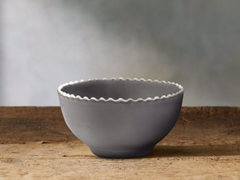 Avignon Grey Cereal Bowl Set With Pearl Trim (Set Of 4)