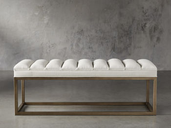 """Edie 55"""" Bench In Devere Ivory And Brass"""