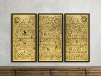 "Gold World Map 21.5"" X 41.5"" Triptych"