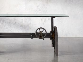 "Industrial 68"" Crank Desk With Large Base"