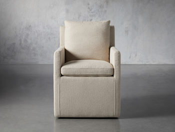 """Oscar Upholstered 24"""" Dining Arm Chair In Zona Sand"""