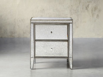"""Reese 24"""" Two Drawer Nightstand In Antique Mirrored"""