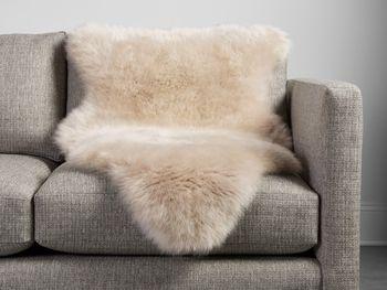 Sheepskin Small Wool Throw In Linen