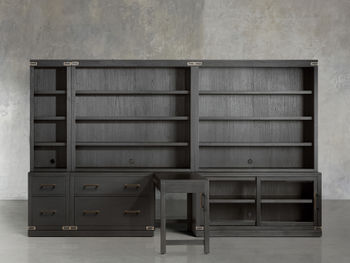 """Tremont Modular 140"""" Library Workspace In Dry Branch Black"""