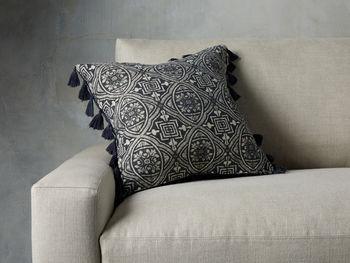 Velvet Print Tassel Pillow In Indigo