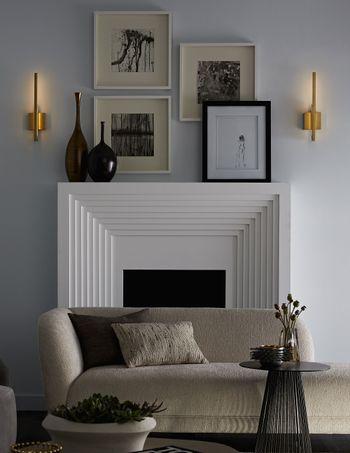 """Sconce, Antique Brass Modern Sculptural Looking Fixture W/Hidden LED Light, 18""""H"""