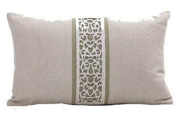"""Cushion Laser Cowhide Damask 12X20"""" Pepper/Olive"""