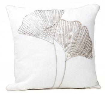 "Cushion Laser Cowhide Ginko White 20"""