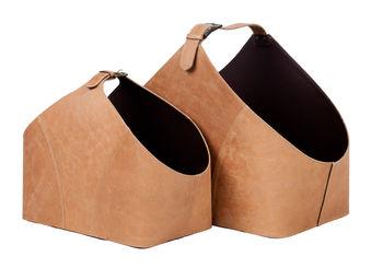 Vintage Copper Leather Basket Set