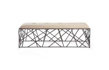 """Bench, 60""""W, Arty natural iron base topped by classic upholstered seating"""