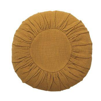 """Pillow, Cotton Slub in Cozy Mustard Color, 18"""" Round"""