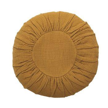 18,Round Cotton Pillow, Mustard Color